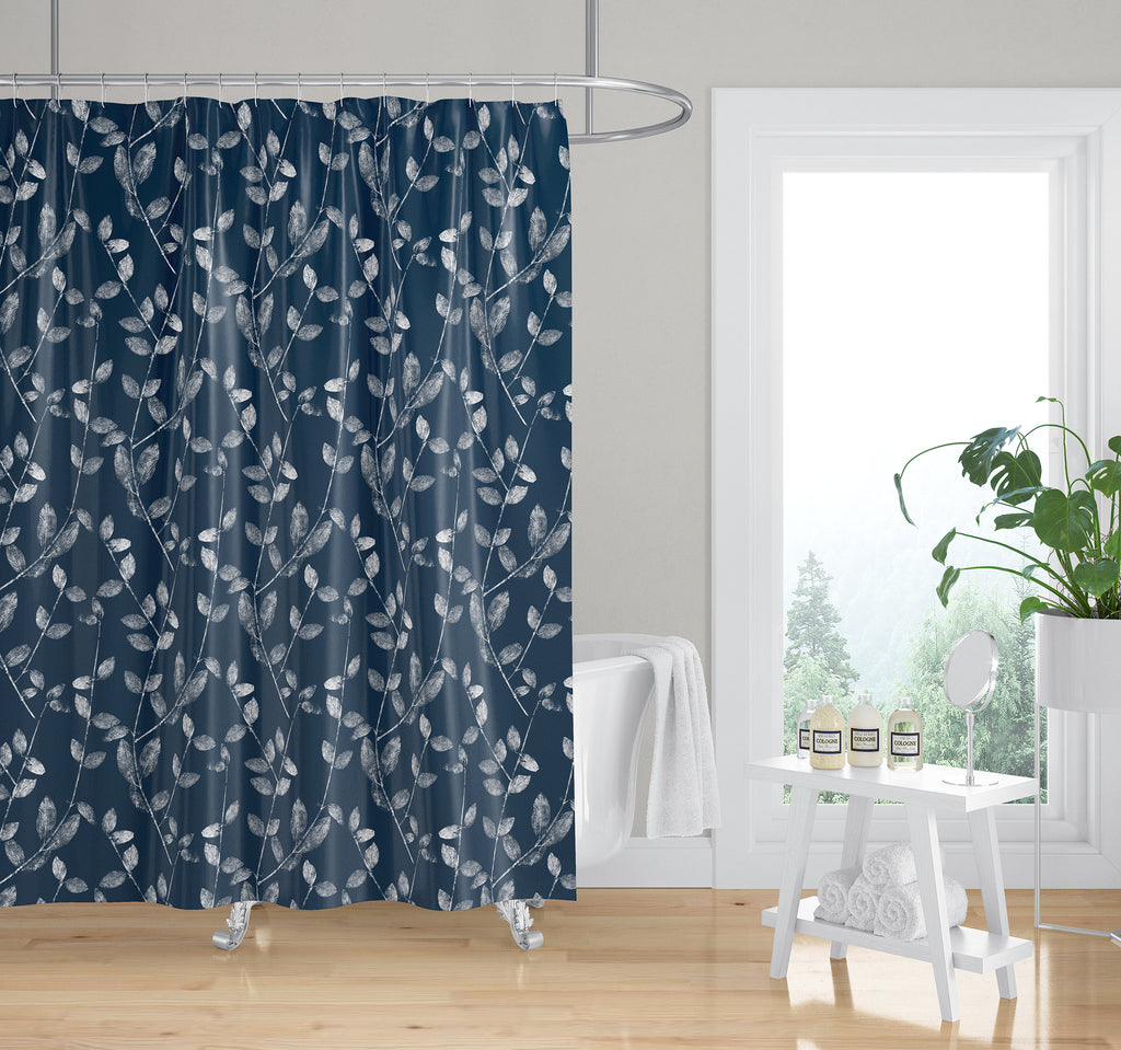 VINE LEAF IN NAVY Shower Curtain By Becky Bailey