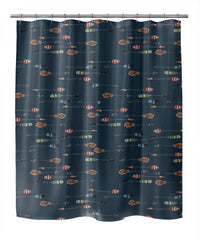 ARROWS ON TEAL MARBLE Shower Curtain By Sharon Gunawon