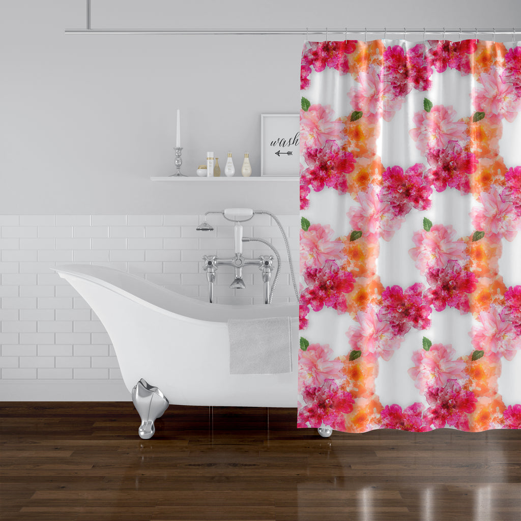 FLORAL BLOOM PINK AND ORANGE Shower Curtain By Jackii Greener