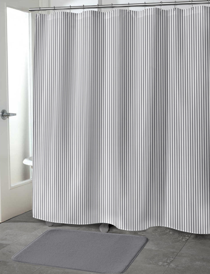 BELMONT STRIPE GREY Shower Curtain By Marina Gutierrez