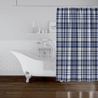 PLAYFUL PLAID NAVY Shower Curtain By Terri Ellis