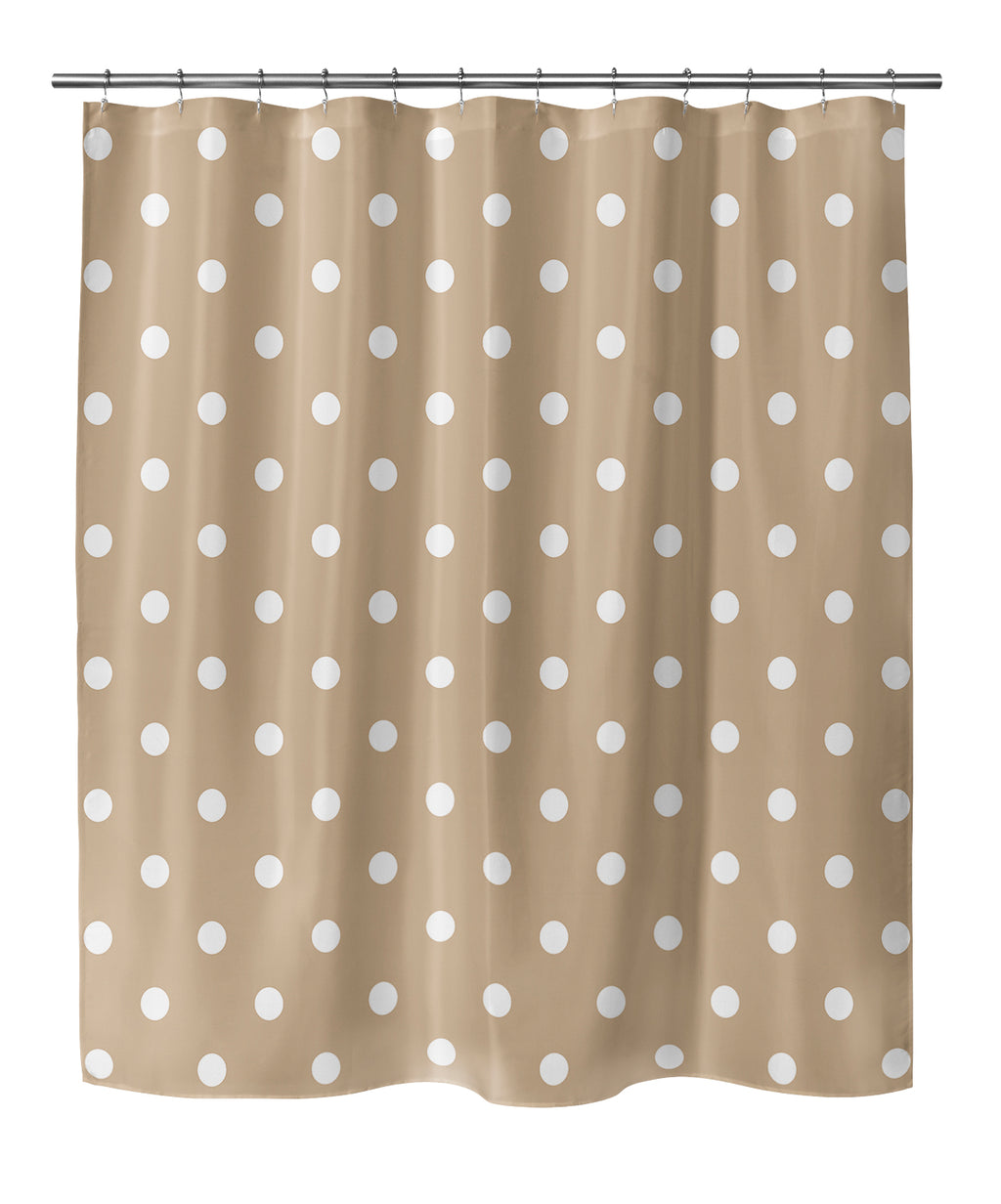 POLKA DOTS TAN Shower Curtain By Terri Ellis