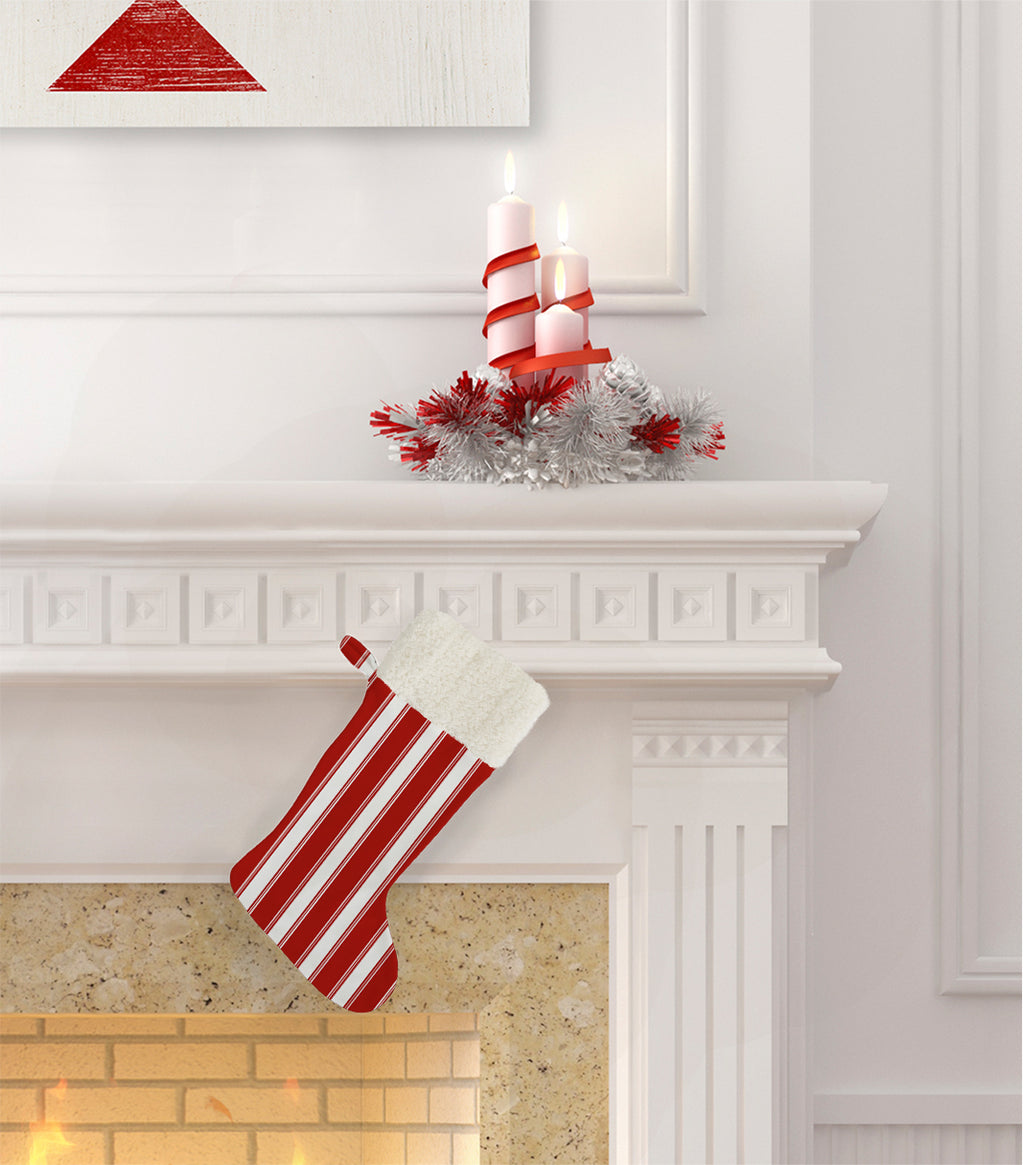CANDY CANE STRIPES Christmas Stocking by Terri Ellis
