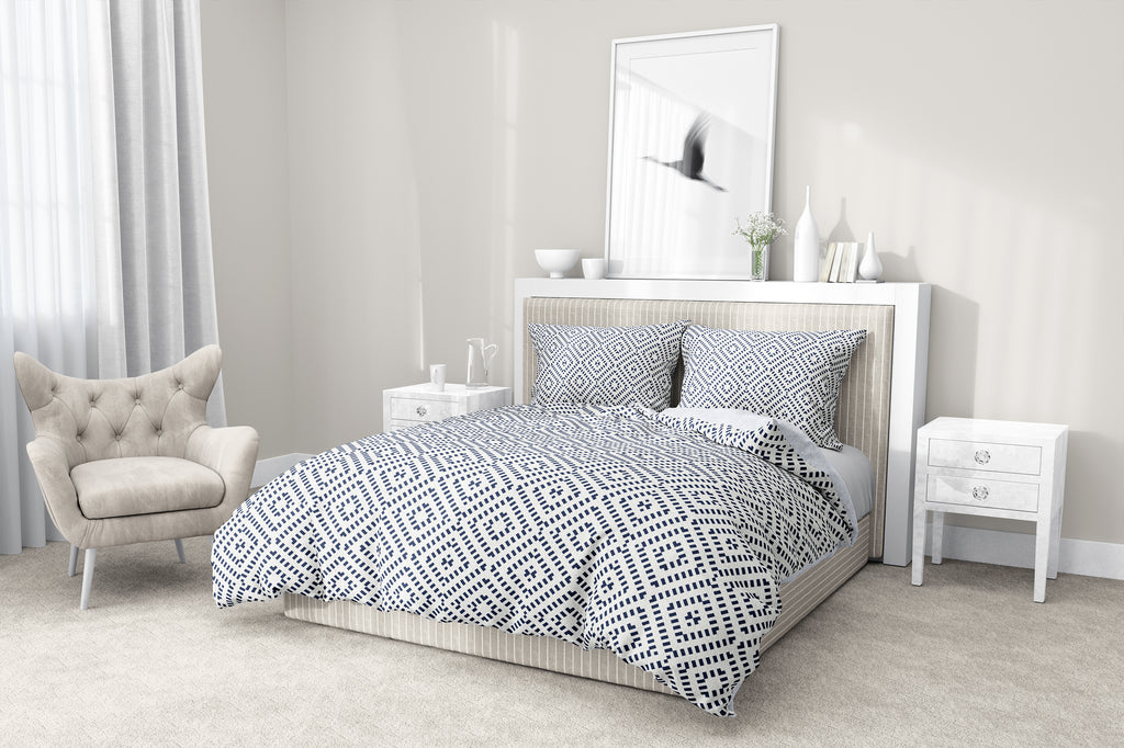 DIAMOND NAVY 5-Piece Sherpa Comforter Set By Scandi Girl Studio