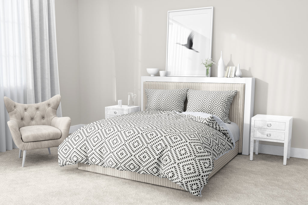 DIAMOND SMOKE 5-Piece Sherpa Comforter Set By Scandi Girl Studio