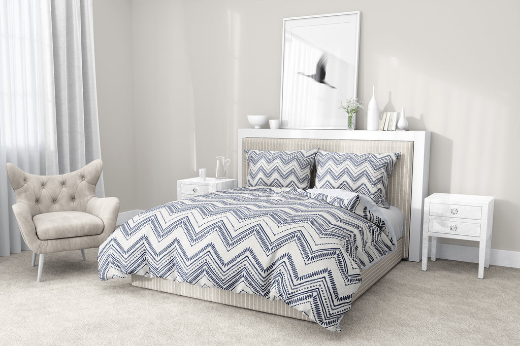 SCANDI ZIG BLUE 5-Piece Sherpa Comforter Set By Scandi Girl Studio