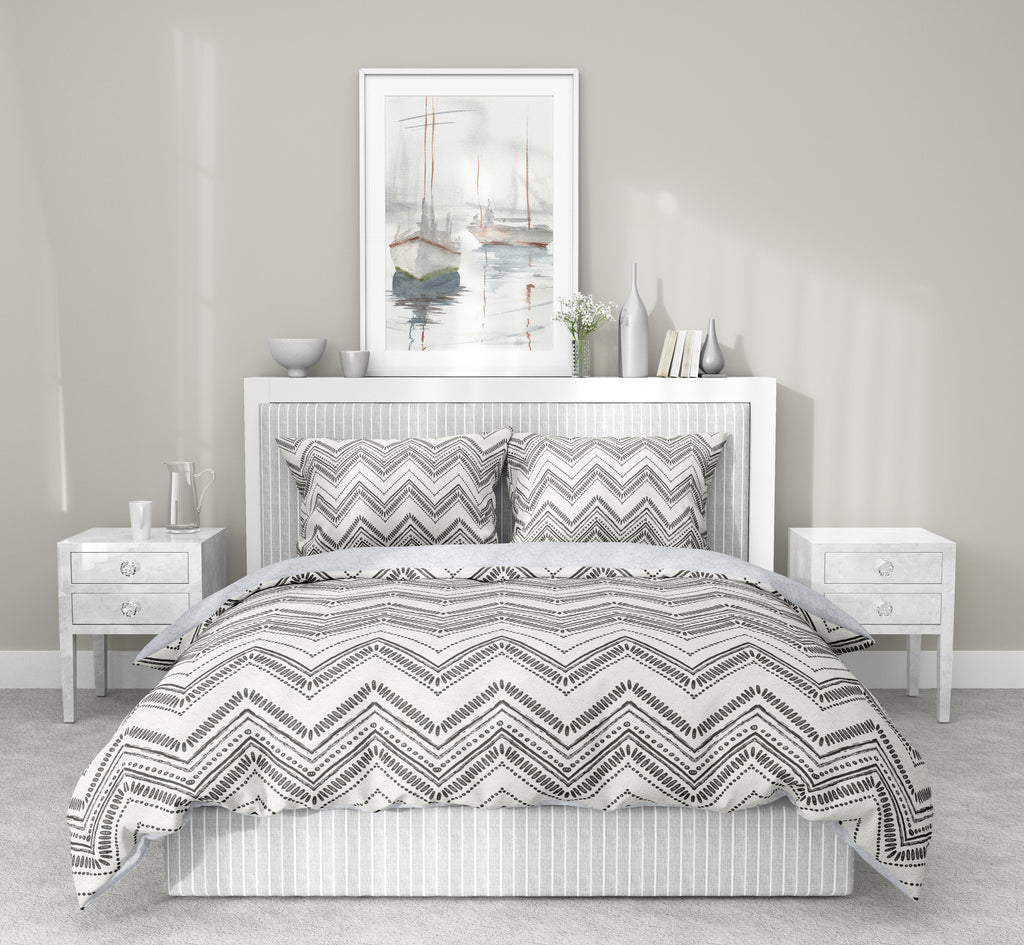 SCANDI ZIG SMOKE 5-Piece Sherpa Comforter Set By Scandi Girl Studio