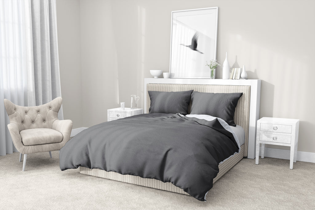 CHARCOAL 5-Piece Sherpa Comforter Set By Kavka Designs
