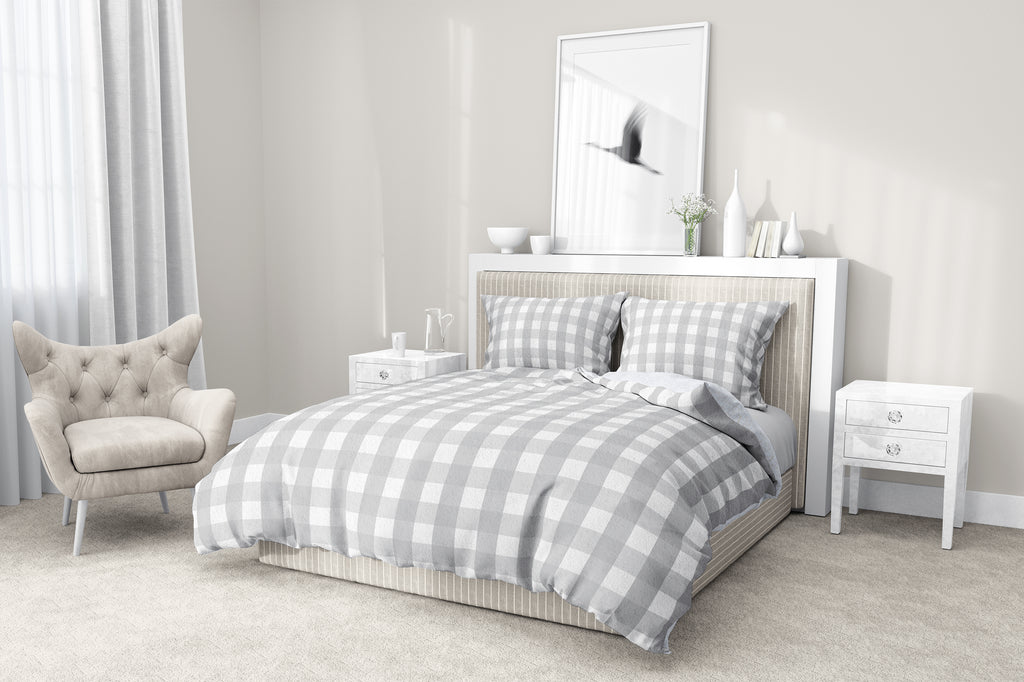 GREY GINGHAM DREAM 5-Piece Sherpa Comforter Set By Kavka Designs