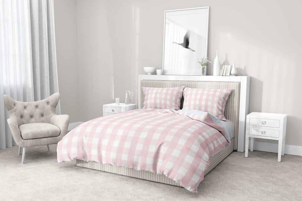 ROSE GINGHAM DREAM 5-Piece Sherpa Comforter Set By Kavka Designs