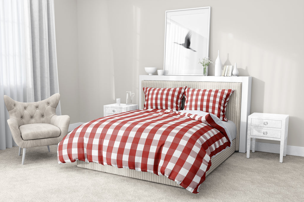 RED GINGHAM DREAM 5-Piece Sherpa Comforter Set By Kavka Designs