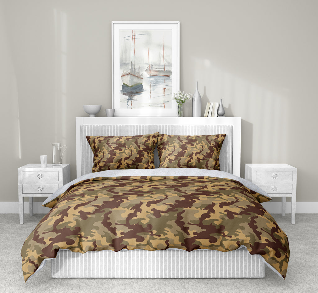 CAMO FLOW BROWN TAN 5-Piece Sherpa Comforter Set By Kavka Designs