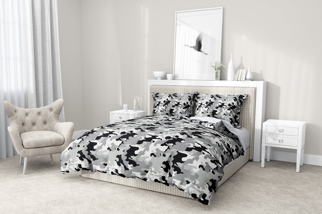 CAMO FLOW GREY 5-Piece Sherpa Comforter Set By Kavka Designs