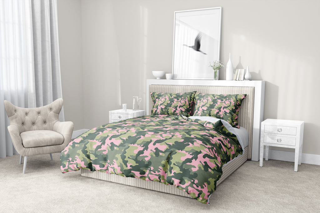 CAMO FLOW PINK AND GREEN 5-Piece Sherpa Comforter Set By Kavka Designs