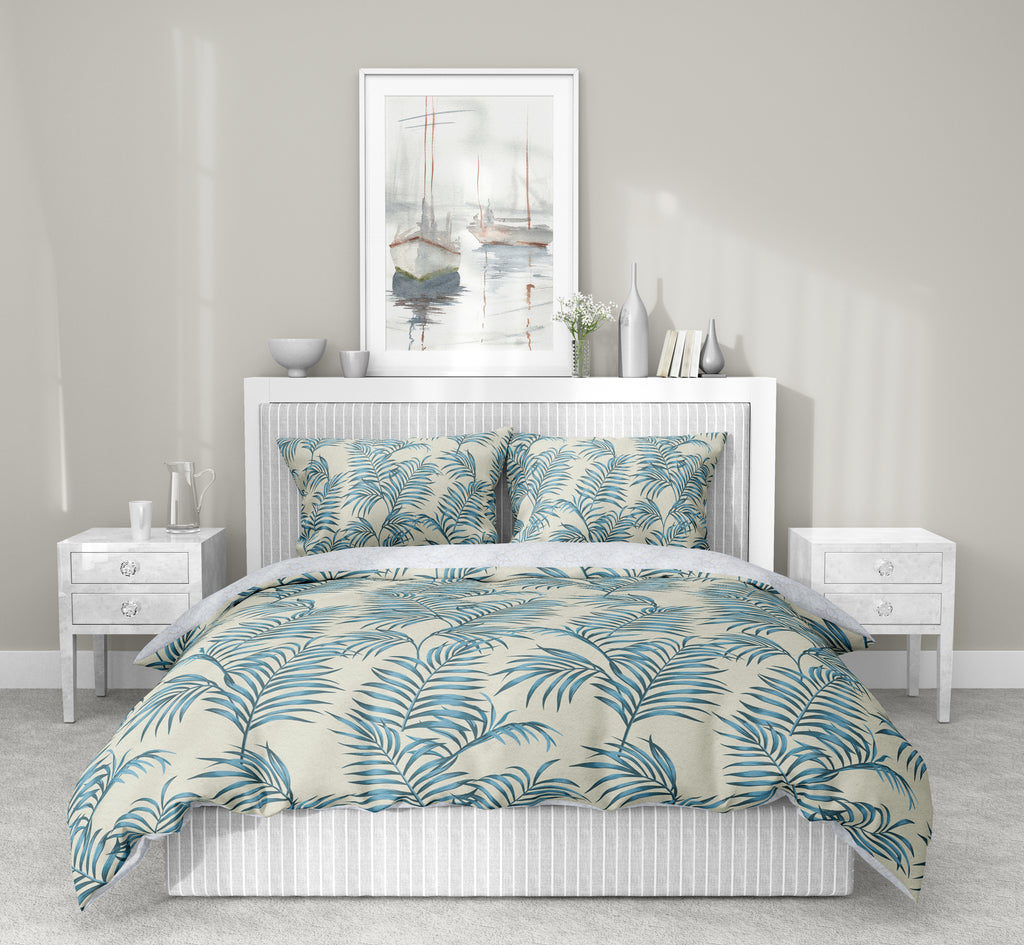 BLUE TROPICAL LEAVES 5-Piece Sherpa Comforter Set By Kavka Designs