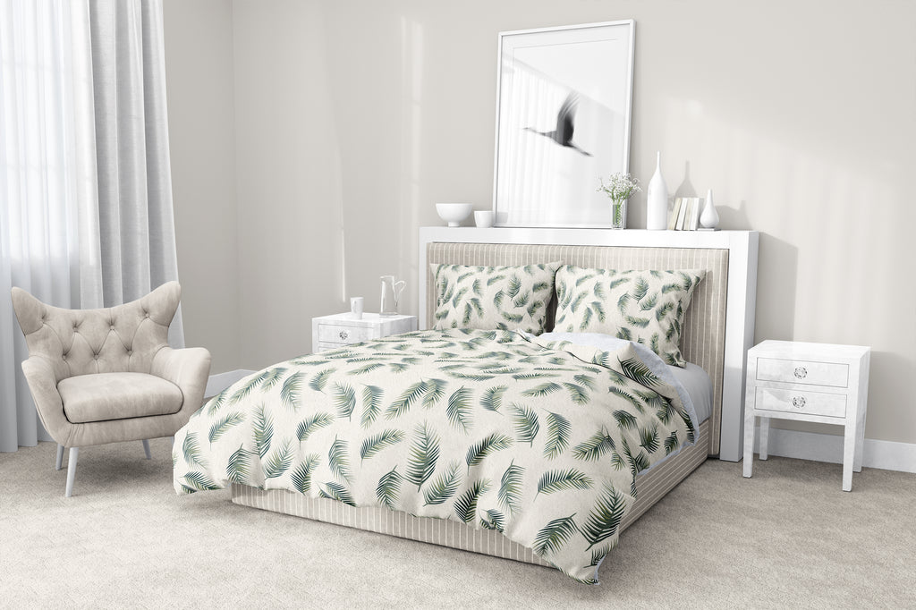 PALM LEAVES SEAMLESS 5-Piece Sherpa Comforter Set By Kavka Designs