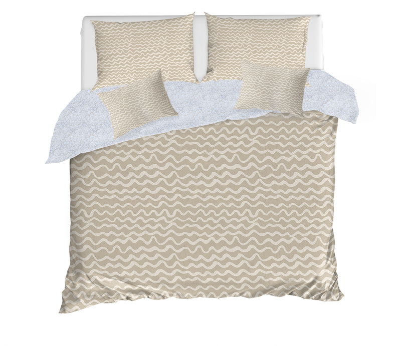 WAVES ABSTRACT BEIGE 5 Piece Sherpa Comforter Set By Kavka Designs