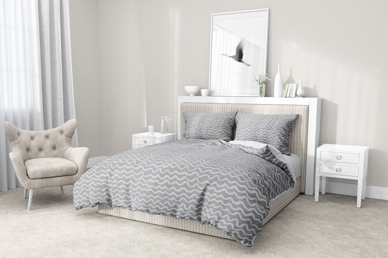 WAVES ABSTRACT GREY 5 Piece Sherpa Comforter Set By Kavka Designs