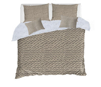 WAVES ABSTRACT TAUPE 5 Piece Sherpa Comforter Set By Kavka Designs
