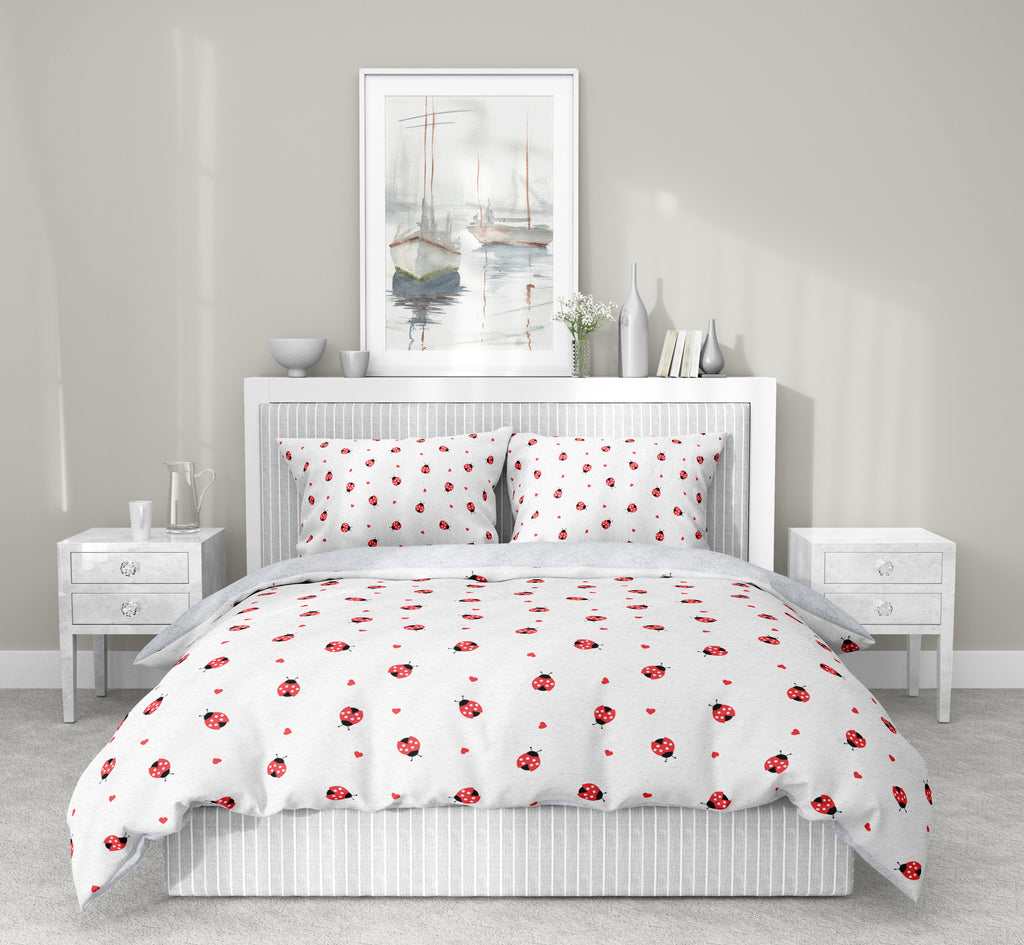 LADYBUG HEARTS 5 Piece Sherpa Comforter Set By Lisa Lane