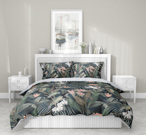 TROPICAL JUNGLE BLUE & PINK 5-Piece Sherpa Comforter Set By Marina Gutierrez