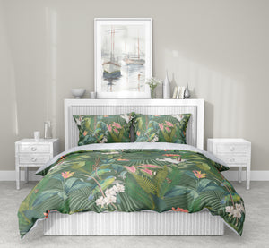 TROPICAL JUNGLE GREEN 5-Piece Sherpa Comforter Set By Marina Gutierrez