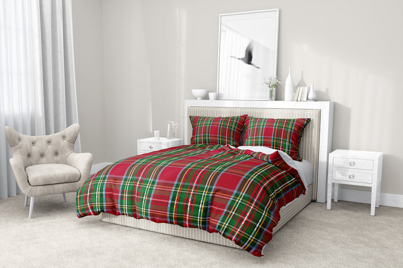 TARTAN CHRISTMAS 5 Piece Sherpa Comforter Set By Terri Ellis