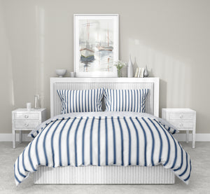 TICKING BLUE 5 Piece Sherpa Comforter Set By Terri Ellis