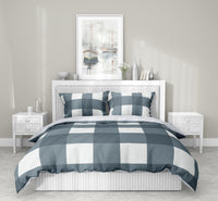 BONNIE CHARCOAL BUFFALO CHECK BLUE 5 Piece Sherpa Comforter Set By Terri Ellis