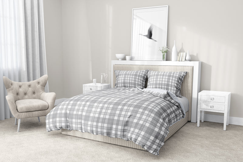 NOHO PLAID SOFT GREY ONE SHADE 5 Piece Sherpa Comforter Set By Terri Ellis
