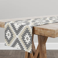 TANGIER KILIM CREAM AND GREY Table Runner By Becky Bailey
