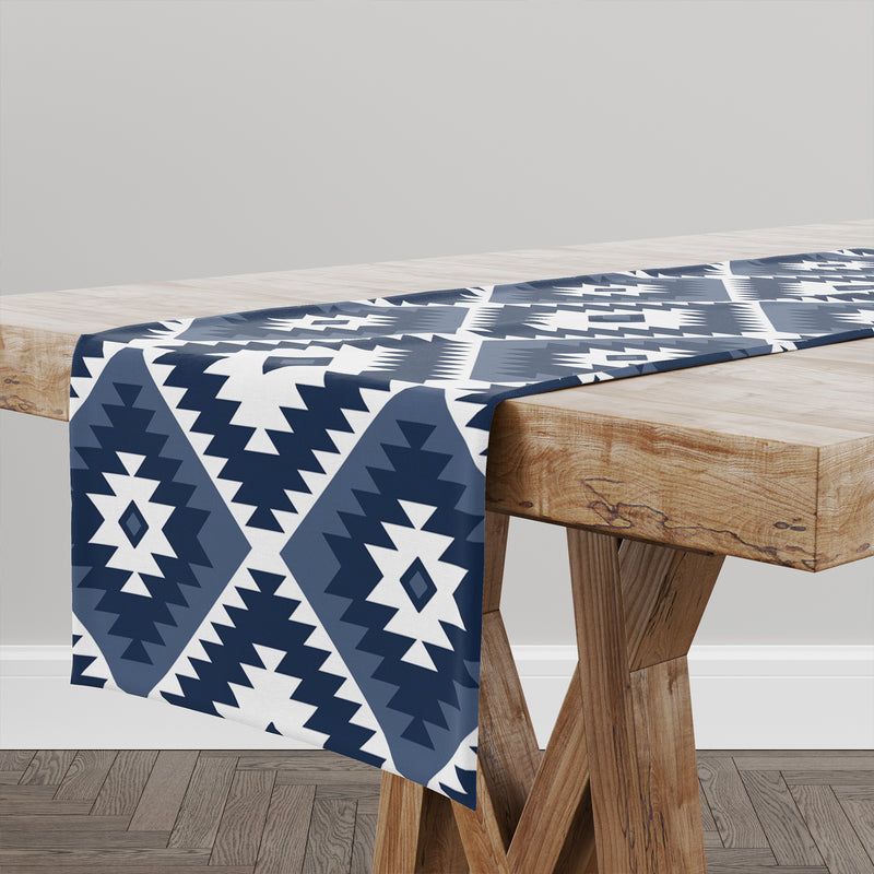 TANGIER KILIM NAVY Table Runner By Becky Bailey