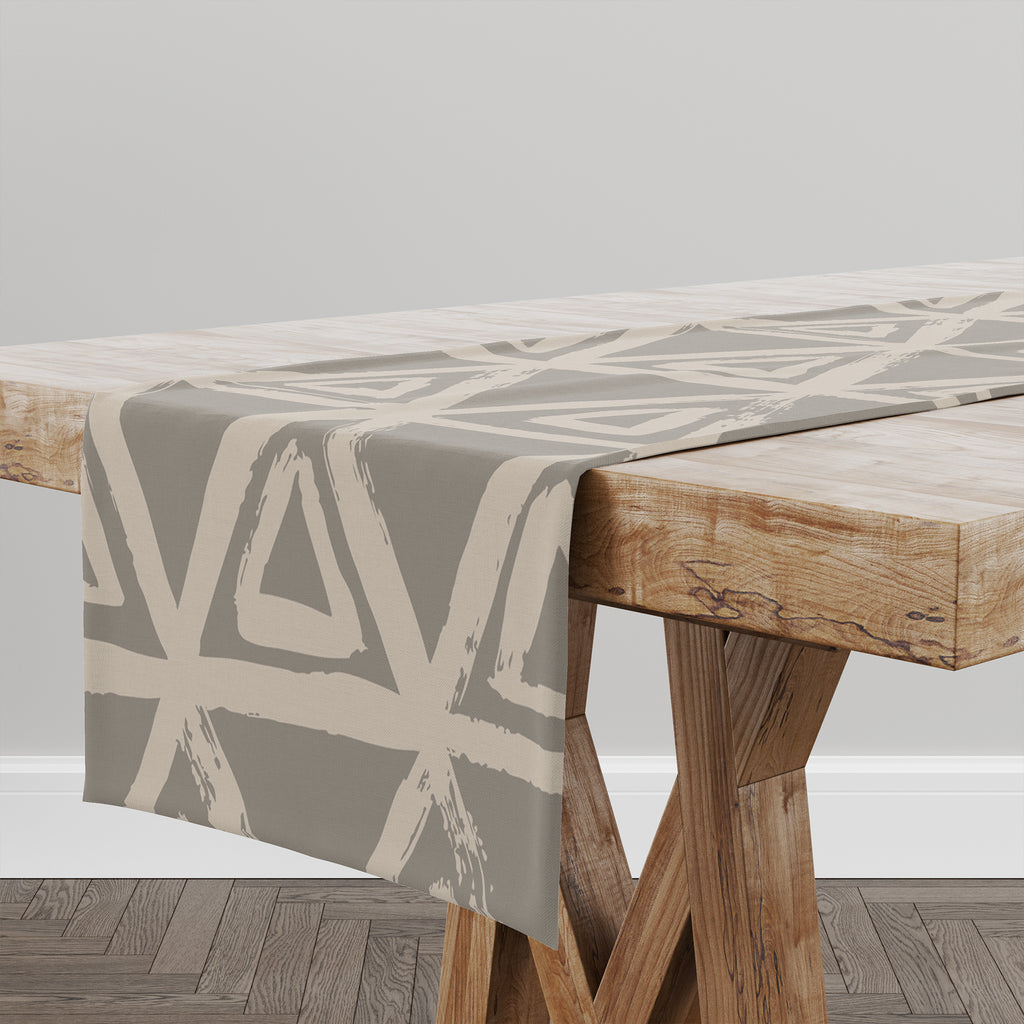TRIANGULAR MIST TAUPE Table Runner By Kavka Designs