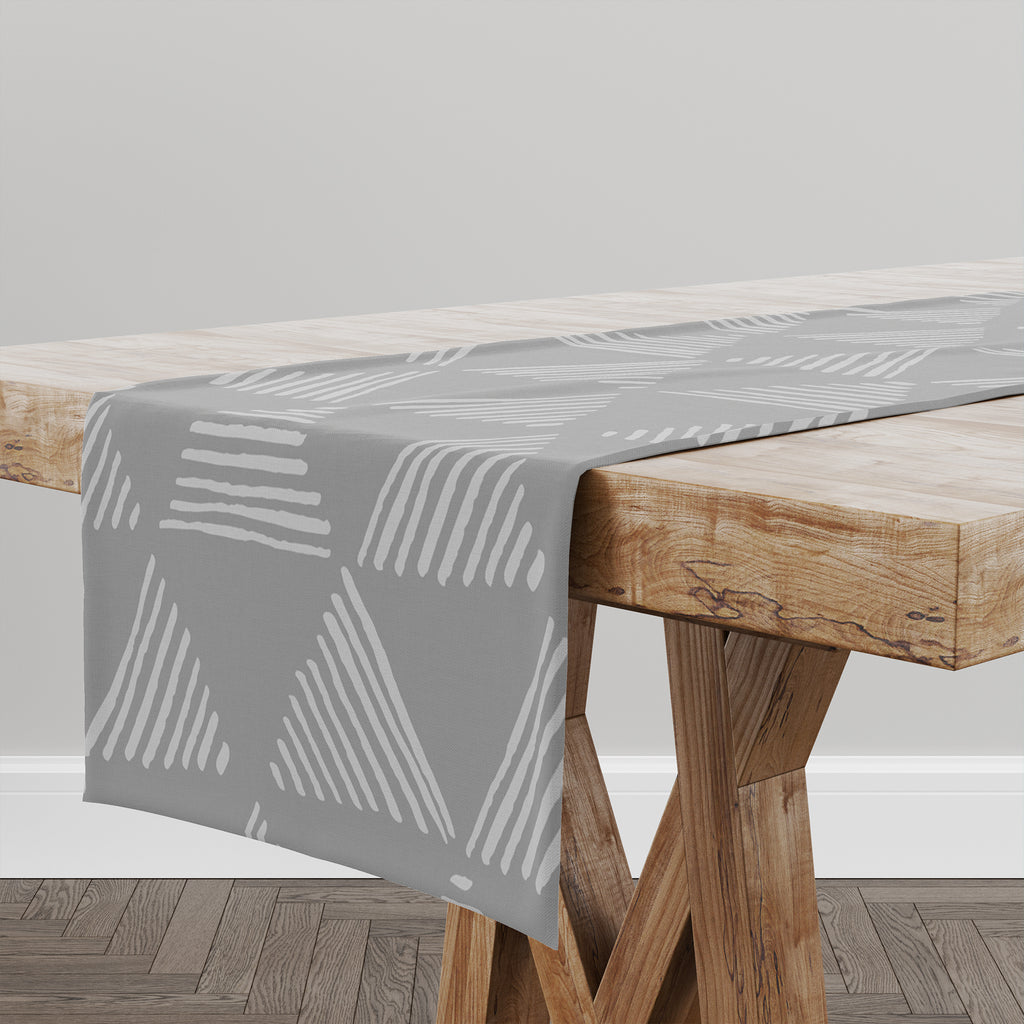 TRIANGULAR PRISM GREY Table Runner By Kavka Designs