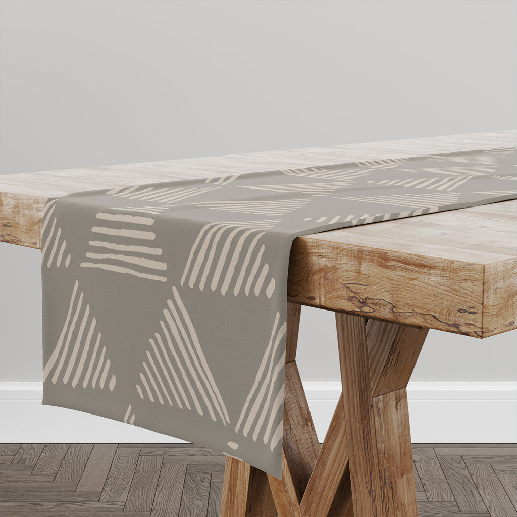 TRIANGULAR PRISM TAUPE Table Runner By Kavka Designs
