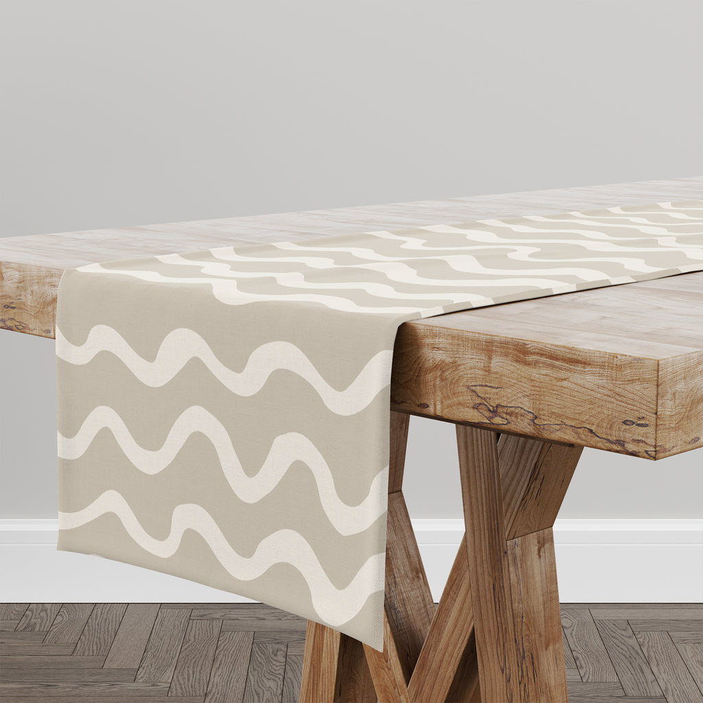WAVES ABSTRACT BEIGE Table Runner By Kavka Designs