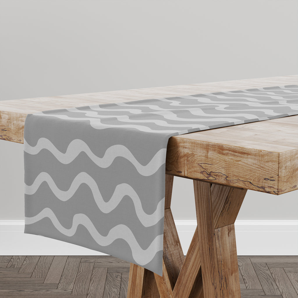 WAVES ABSTRACT GREY Table Runner By Kavka Designs