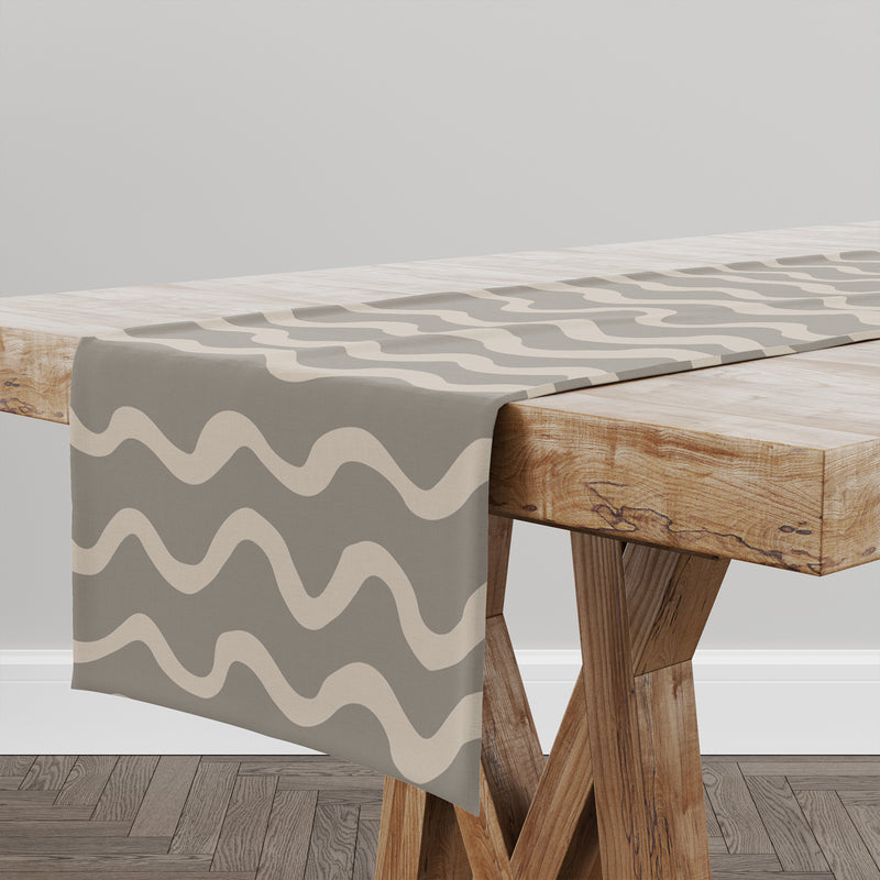 WAVES ABSTRACT TAUPE Table Runner By Kavka Designs