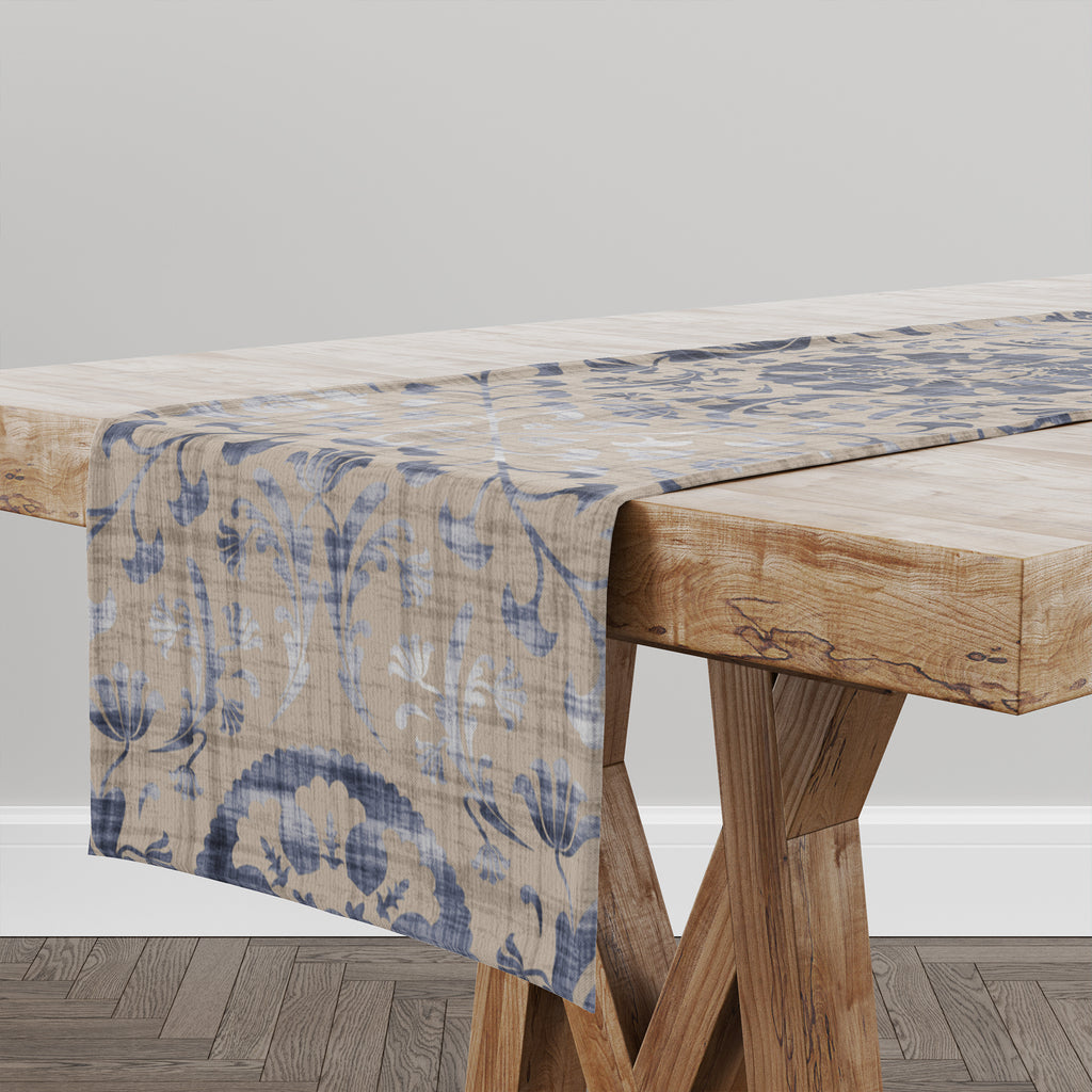 SUZANI DISTRESSED BEIGE & BLUE Table Runner By Marina Gutierrez