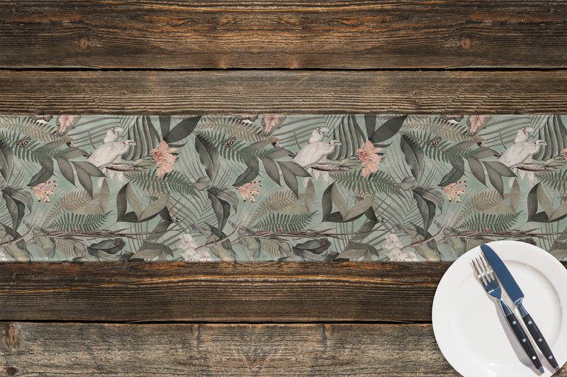 TROPICAL JUNGLE LIGHT BLUE & PINK Table Runner By Marina Gutierrez