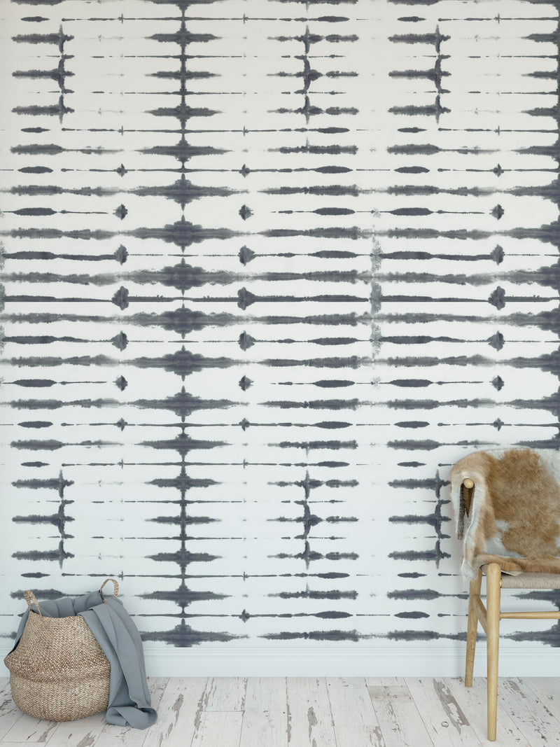 THIN SHIBORI ASH  Peel and Stick Wallpaper By Becky Bailey