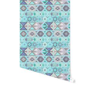 AZTEC TRIBAL MINT Peel and Stick Wallpaper By Becky Bailey