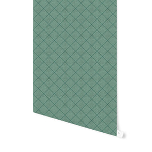 STICH TRIBAL DIAMOND GREEN Peel and Stick Wallpaper By Becky Bailey