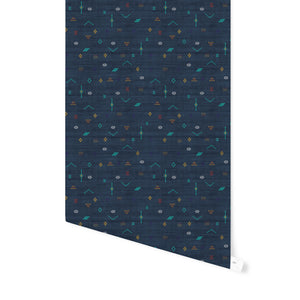 CACTUS SOFT NAVY Peel and Stick Wallpaper By Becky Bailey