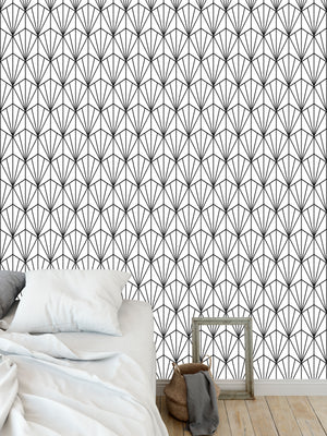 ART NOUVEAU B+W Peel and Stick Wallpaper By Becky Bailey