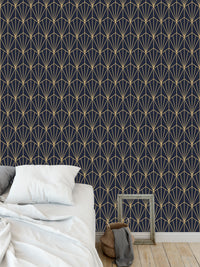 ART NOUVEAU NAVY AND GOLD Peel and Stick Wallpaper By Becky Bailey