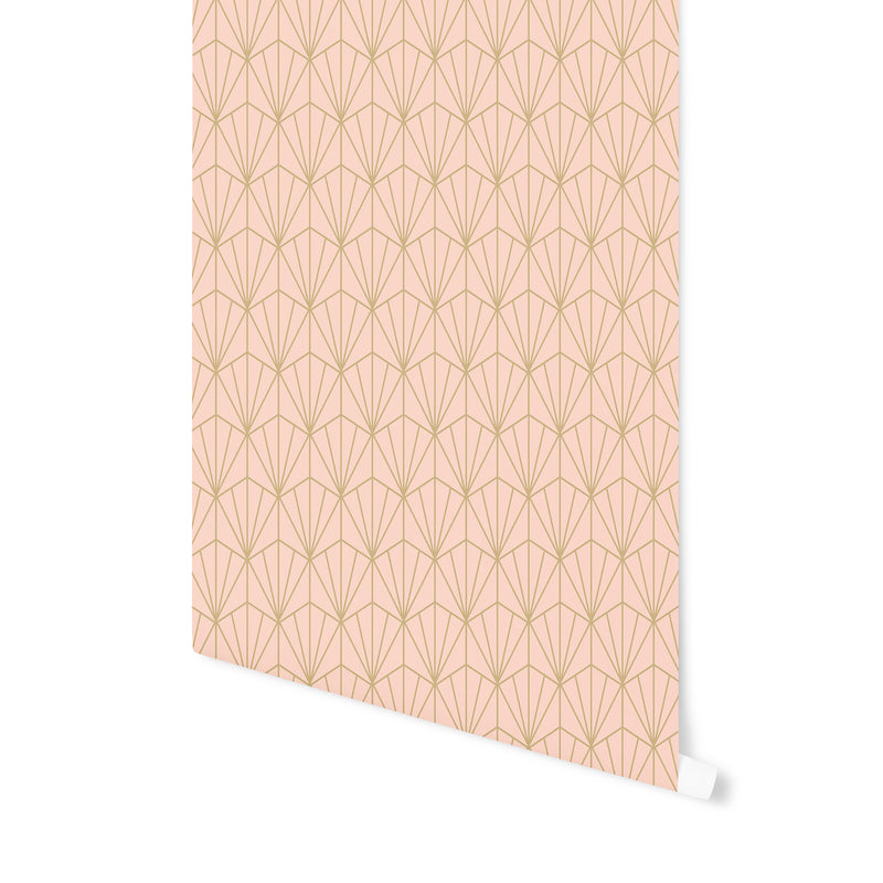 ART NOUVEAU PEACH AND GOLD Peel and Stick Wallpaper By Becky Bailey