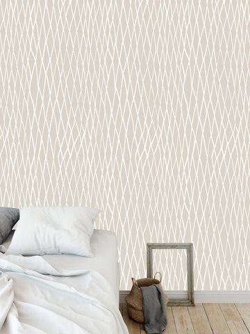 CHAIN LINK BEIGE Peel and Stick Wallpaper By Becky Bailey