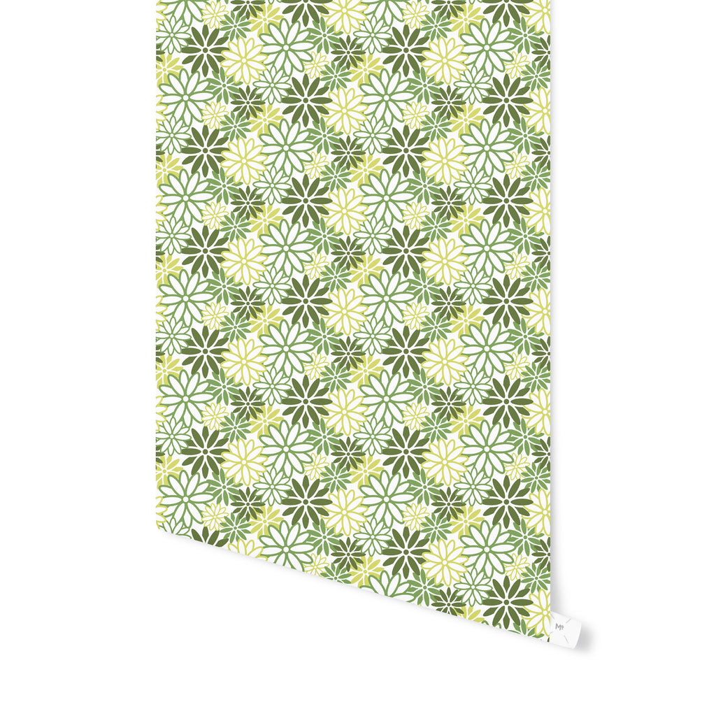 BEATNIK FLORAL GREEN Peel and Stick Wallpaper By Becky Bailey