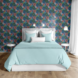 BEATNIK FLORAL NAVY Peel and Stick Wallpaper By Becky Bailey